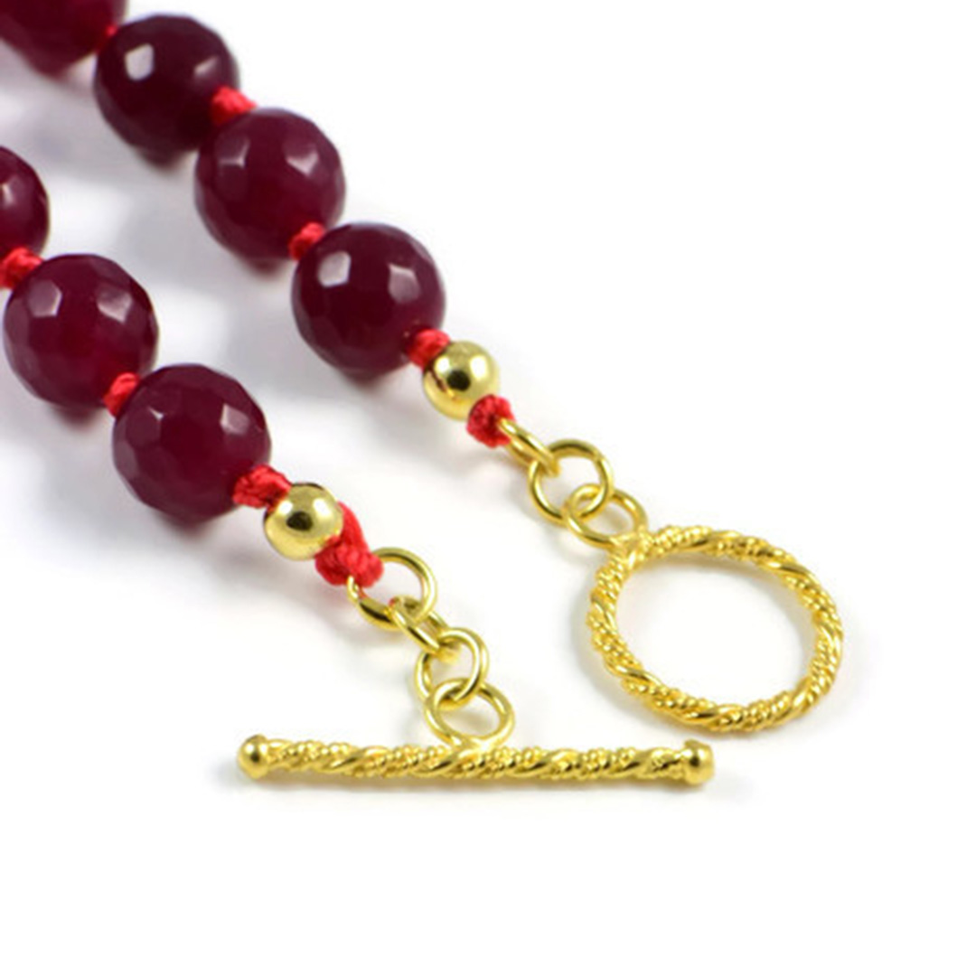AqBeadsUk Classic Semi-Precious Gemstone 8mm Red Jade Faceted Round Beads 19 inch Luxury Hand-Knotted Women's Necklace
