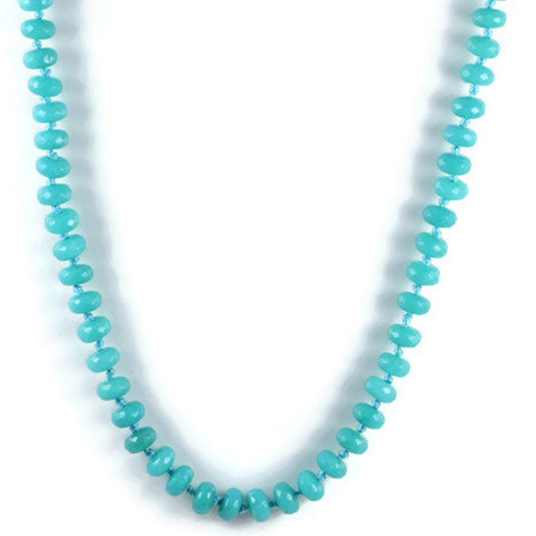 AqBeadsUk Classic Semi-Precious 10x5mm Gemstone Blue Turquoise Jade Faceted Rondelle Beads 19.5 inch Luxury Hand-Knotted Women's Necklace
