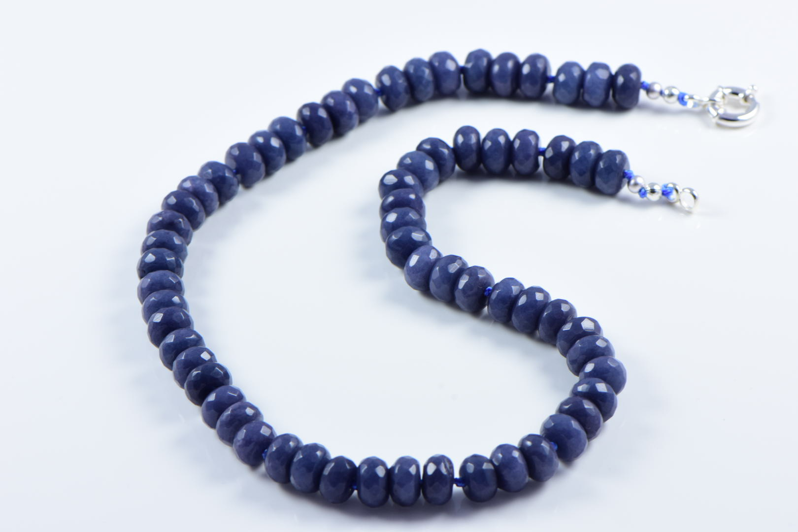 AqBeadsUk Classic Semi-Precious 10x5mm Gemstone Dark Grey Jade Faceted Round Beads 19 inch Luxury Hand-Knotted Women's Necklace
