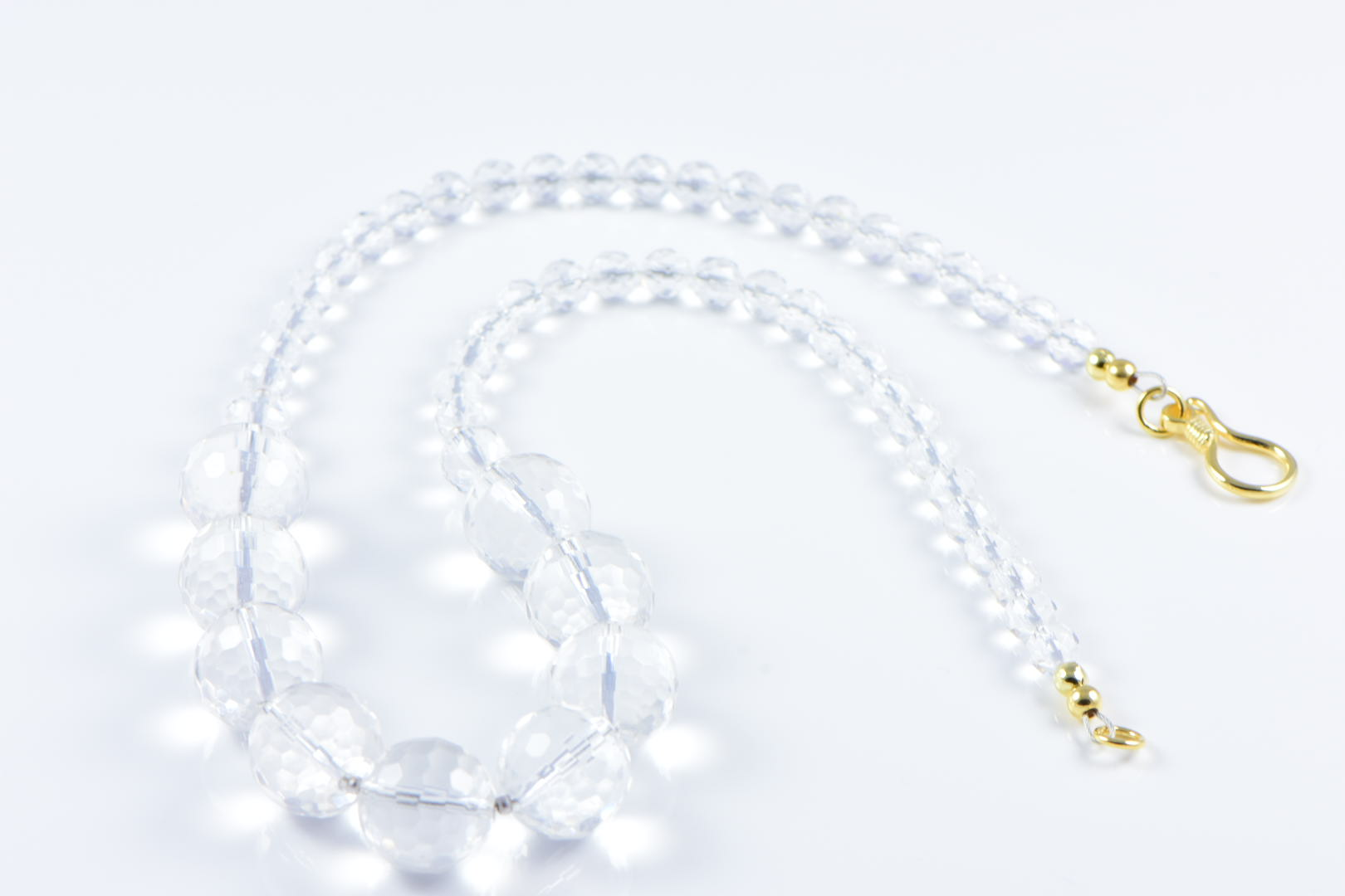 AqBeadsUk Classic Semi-Precious 14mm & 6mm Gemstone Clear Crystal Quartz Faceted Round Beads 19 inch Luxury Handmade Women's Necklace