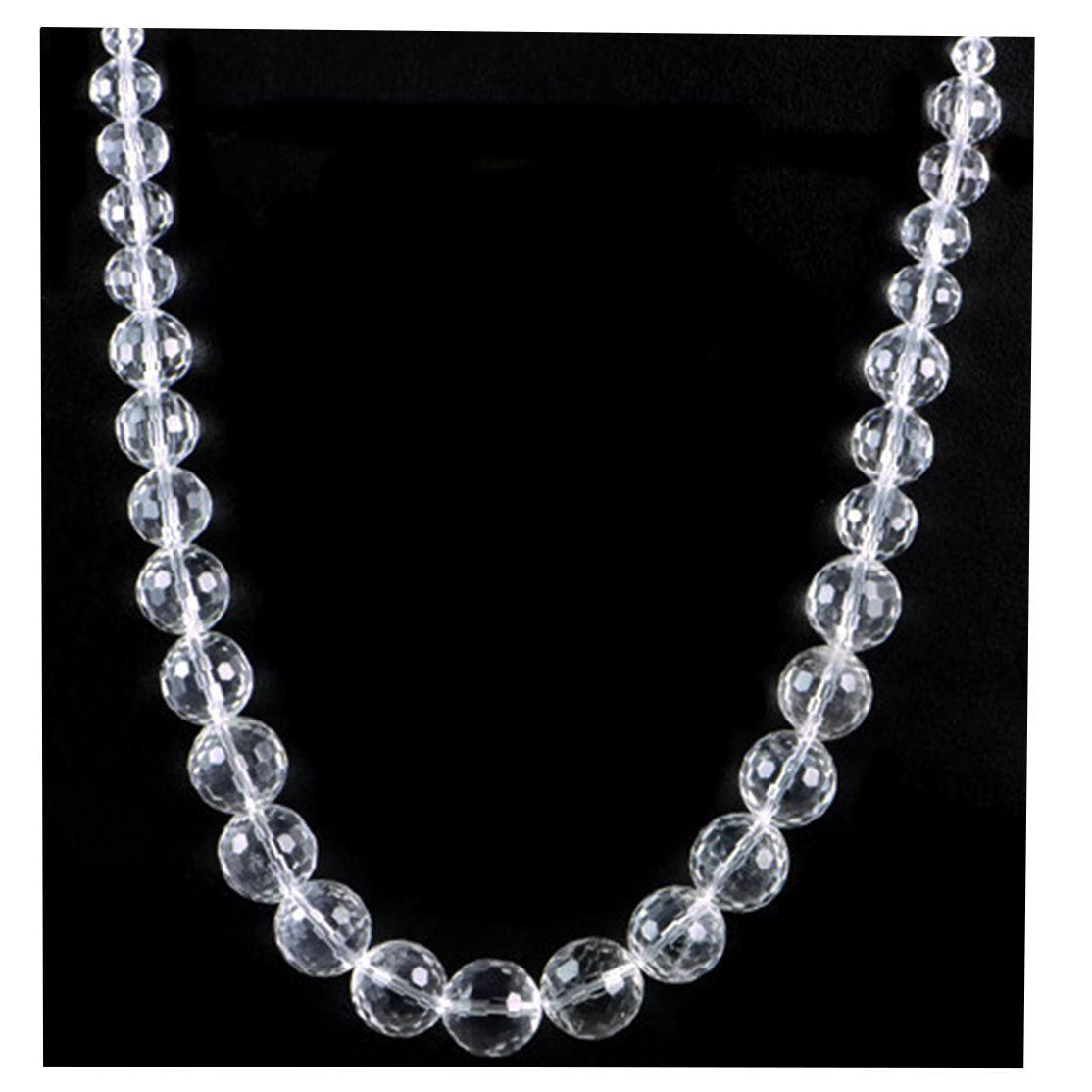 AqBeadsUk Classic Semi-Precious 14-6mm Gemstone Clear Crystal Quartz Faceted Beads 19.2 inch Luxury Handmade Women's Necklace
