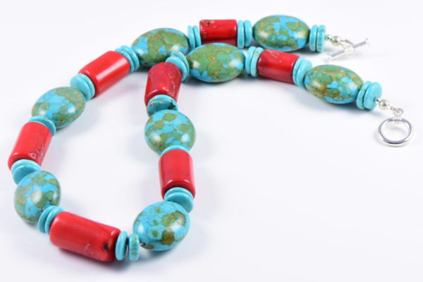 AqBeadsUk Classic Semi-Precious Gemstone Turquoise/Red Coral Beads 19 inch Luxury Handmade Women's Necklace