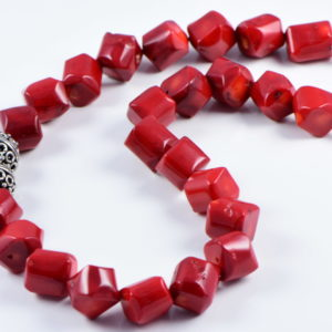 Classic Semi-Precious 14mm Gemstone Red Coral Drum Beads 19 inch Luxury Handmade Women's Necklace