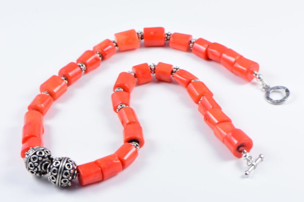 AqBeadsUk Classic Semi-Precious 12-11x10mm Gemstone Orange Coral Tube Beads 18.8 inch Luxury Handmade Women's Necklace