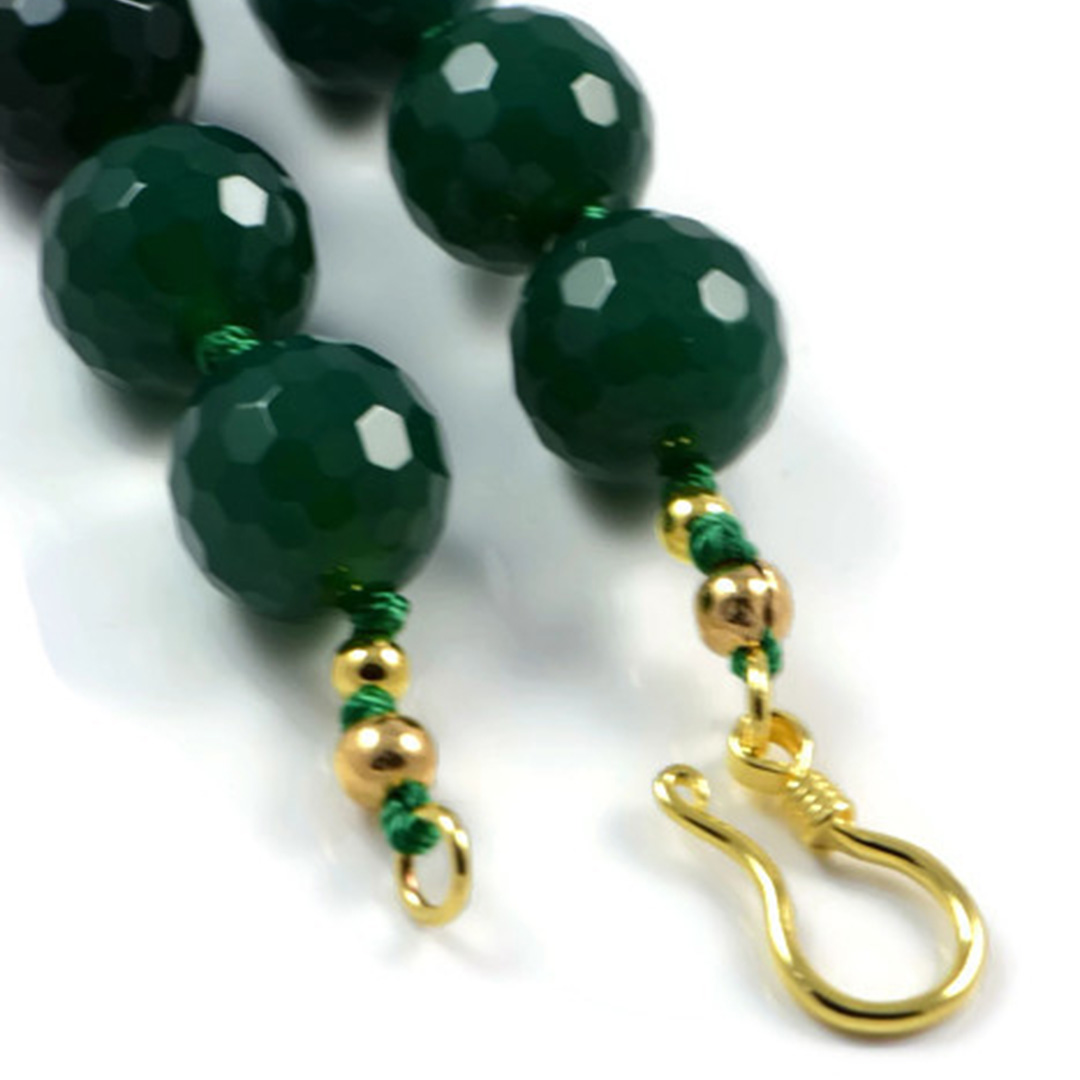AqBeadsUk Classic Semi-Precious Gemstone 14mm Faceted Green Agate Round Beads 20 inch Luxury Hand-Knotted Women's Necklace