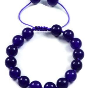 AqBeadsUk Classic Semi-Precious 10mm Round Gemstone Dark Amethyst Beads 7.8 inch Closed 11.2 inch Open Luxury Hand-knotted Women's Bracelet