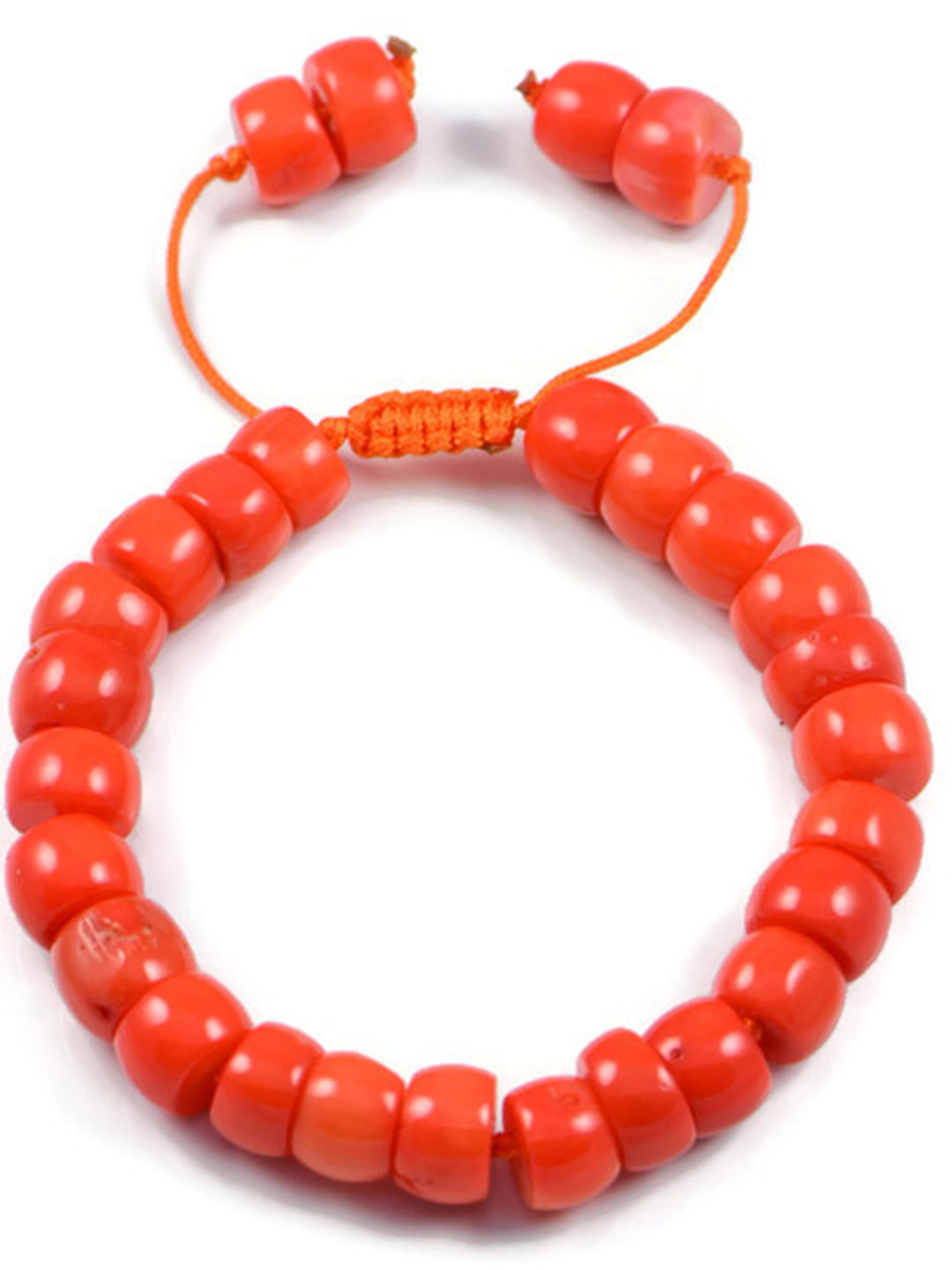 AqBeadsUk Classic Semi-Precious 6x9mm Rondelle Gemstone Orange Coral Beads 7.5 inch Closed 10 inch Open Luxury Hand-knotted Women's Bracelet