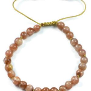 AqBeadsUk Classic Semi-Precious 6mm Round Sun Stone Beads 7.5 inch Closed 11 inch Open Luxury Hand-knotted Women's Bracelet