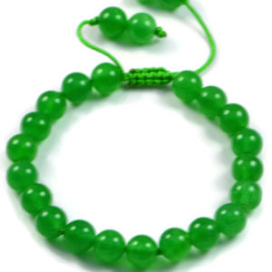 AqBeadsUk Classic Semi-Precious 8mm Round Green Agate Beads 8 inch Closed 11 inch Open Luxury Hand-knotted Women's Bracelet