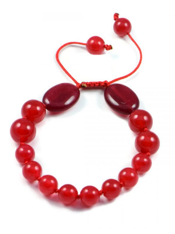 AqBeadsUk Classic Semi-Precious 8-10mm Round 12x18mm Oval Gemstone Red Ruby Beads 7.5 inch Closed 10.5 inch Open Luxury Hand-knotted Women's Bracelet