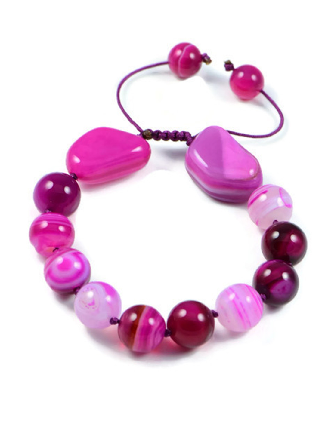 Classic Semi-Precious 10mm Round 12x18mm Nugget Gemstone Rose Agate Beads 7.5 inch Closed 10 inch Open Luxury Hand-knotted Women's Bracelet