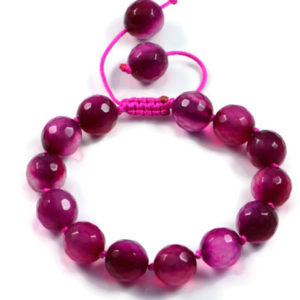 AqBeadsUk Classic Semi-Precious 10mm Round Gemstone Rose Agate Beads 7.5 inch Closed 9.4 inch Open Luxury Hand-knotted Women's Bracelet
