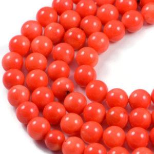 AqBeadsUk Semi-Precious Crystal Energy Stones with Natural Healing Power - Premium Genuine Orange Coral 9mm Round Gemstone Jewellery Making Beads on 15 inch Strand