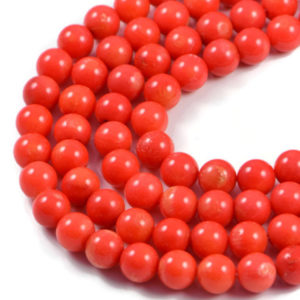 Premium Genuine Orange Coral 8mm Round Gemstone Jewellery Making Beads on 16 inch Strand