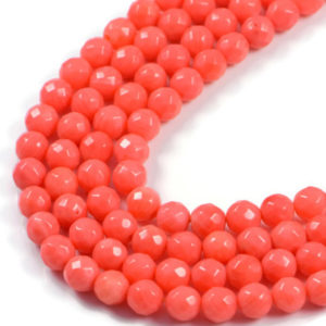 AqBeadsUk Semi-Precious Crystal Energy Stones with Natural Healing Power - Premium Genuine Orange Coral 6mm Round Faceted Gemstone Jewellery Making Beads on 15.5 inch Strand