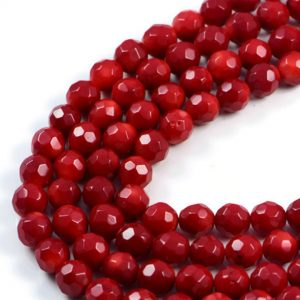 AqBeadsUk Semi-Precious Crystal Energy Stones with Natural Healing Power - Premium Genuine Red Coral 7mm Round Faceted Gemstone Jewellery Making Beads on 16 inch Strand