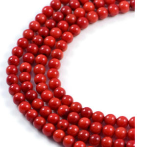AqBeadsUk Semi-Precious Crystal Energy Stones with Natural Healing Power - Premium Genuine Red Coral 5mm Round Gemstone Jewellery Making Beads on 16 inch Strand