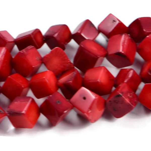 Semi-Precious Crystal Energy Stones with Natural Healing Power - Premium Genuine Red Coral Cube 9-8mm Gemstone Jewellery Making Beads on 16 inch Strand