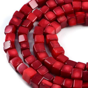 Semi-Precious Crystal Energy Stones with Natural Healing Power - Premium Genuine Red Coral 8-7mm Cube Gemstone Jewellery Making Beads on 16.5 inch Strand
