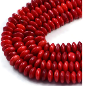 AqBeadsUk Semi-Precious Crystal Energy Stones with Natural Healing Power - Premium Genuine Red Coral 8x3mm Rondelle Gemstone Jewellery Making Beads on 16 inch Strand