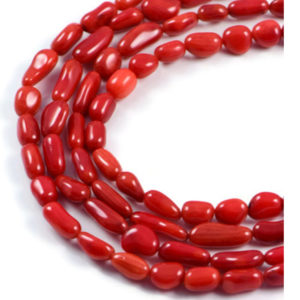 AqBeadsUk Semi-Precious Crystal Energy Stones with Natural Healing Power - Premium Genuine Red Coral 15-6x4mm Tube Gemstone Jewellery Making Beads on 16 inch 3 Strands