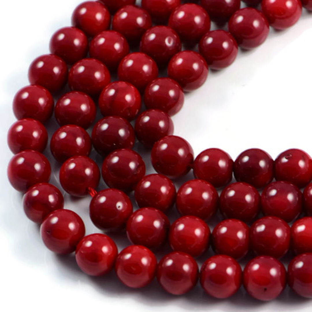 AqBeadsUk Semi-Precious Crystal Energy Stones with Natural Healing Power - Premium Genuine Red Coral 8mm Round Gemstone Jewellery Making Beads on 16 inch Strand