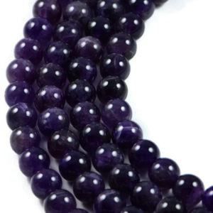 AqBeadsUk Semi-Precious Crystal Energy Stones with Natural Healing Power - Premium Genuine Dark Amethyst 8mm Round Gemstone Jewellery Making Beads on 15 inch Strand