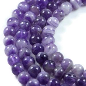 AqBeadsUk Semi-Precious Crystal Energy Stones with Natural Healing Power - Premium Genuine Light Amethyst 8mm Round Gemstone Jewellery Making Beads on 15 inch Strand