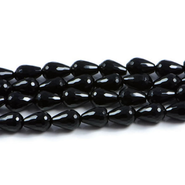 AqBeadsUk Semi-Precious Crystal Energy Stones with Natural Healing Power - Premium Genuine Black Onyx 12x8mm Faceted Teardrop Gemstone Jewellery Making Beads on 15.5 inch Strand