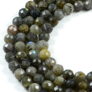 AqBeadsUk Semi-Precious Crystal Energy Stones with Natural Healing Power - Premium Genuine Labradorite 10mm Faceted Round Gemstone Jewellery Making Beads on 15.5 inch Strand