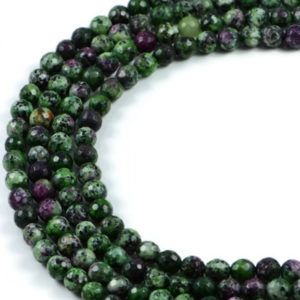 AqBeadsUk Semi-Precious Crystal Energy Stones with Natural Healing Power - Premium Genuine Ruby Zoisite 6mm Faceted Round Gemstone Jewellery Making Beads on 15 inch Strand