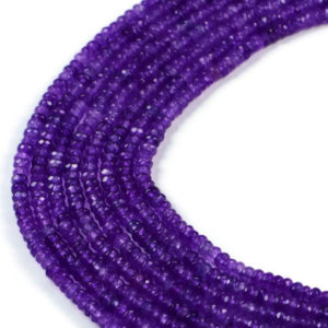AqBeadsUk Semi-Precious Crystal Energy Stones with Natural Healing Power - Premium Genuine Purple Dyed Jade 4x2mm Faceted Rondelle Gemstone Jewellery Making Beads on 14.5 inch 2 Strands