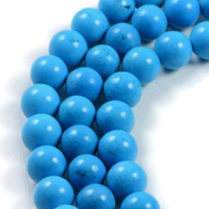 AqBeadsUk Gemstone Blue Turquoise 10mm Round Beads Strand 16 inch Jewellery Making Beads