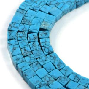 AqBeadsUk Gemstone Turquoise 6mm Cube Beads Strand 16 inch Jewellery Making Beads