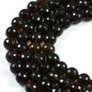 AqBeadsUk Natural Smoky Quartz Faceted Round 10mm Gemstone Beads Strand 15 inch Jewellery Making Beads