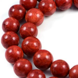 AqBeadsUk Gemstone Sponge Coral 16mm Round Beads Strand 16 inch Jewellery Making Beads