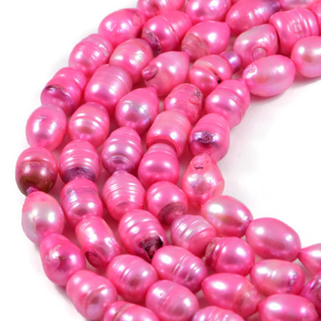 AqBeadsUk Freshwater Crystal Energy Pearl with Natural Healing Power - Premium Genuine Cultured 9x12mm Dyed Pink Pearl Rice Jewellery Making Beads on 16 inch Strand