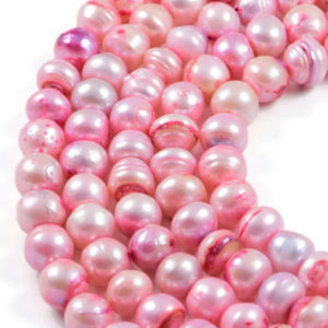 AqBeadsUk Freshwater Crystal Energy Pearl with Natural Healing Power - Premium Genuine Cultured 9x10mm Dyed Light Pink Pearl Potato Jewellery Making Beads on 16 inch Strand