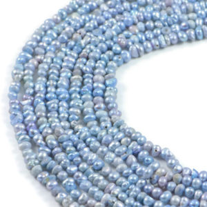 AqBeadsUk Freshwater Crystal Energy Pearl with Natural Healing Power - Premium Genuine Cultured 4-5mm Dyed Light Blue Pearl Rice Jewellery Making Beads on 15.5 inch 2 Strands