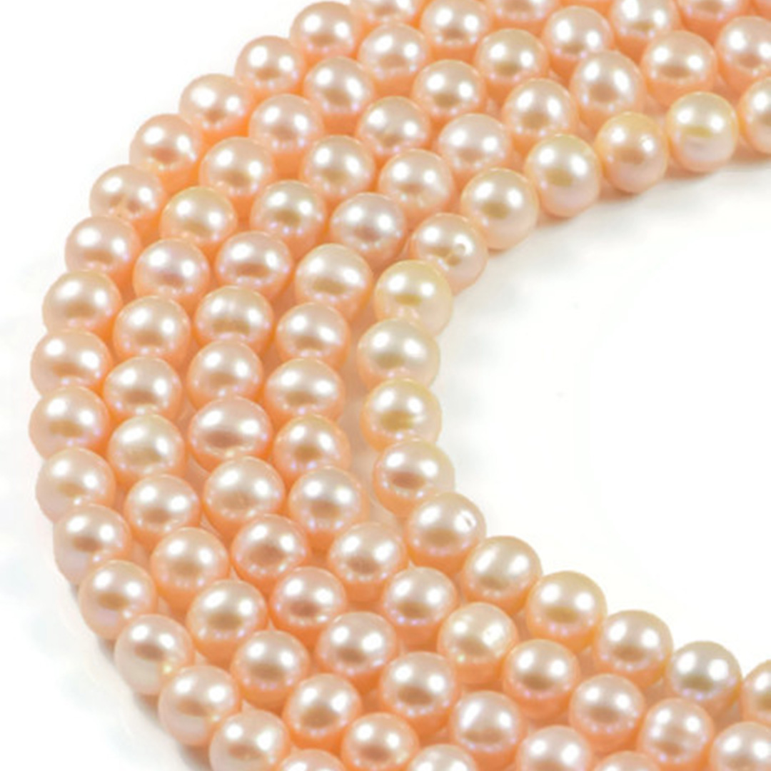 AqBeadsUk Freshwater Crystal Energy Pearl with Natural Healing Power - Premium Genuine Cultured 7-8mm Light Pink Pearl Round Jewellery Making Beads on 15 inch Strand
