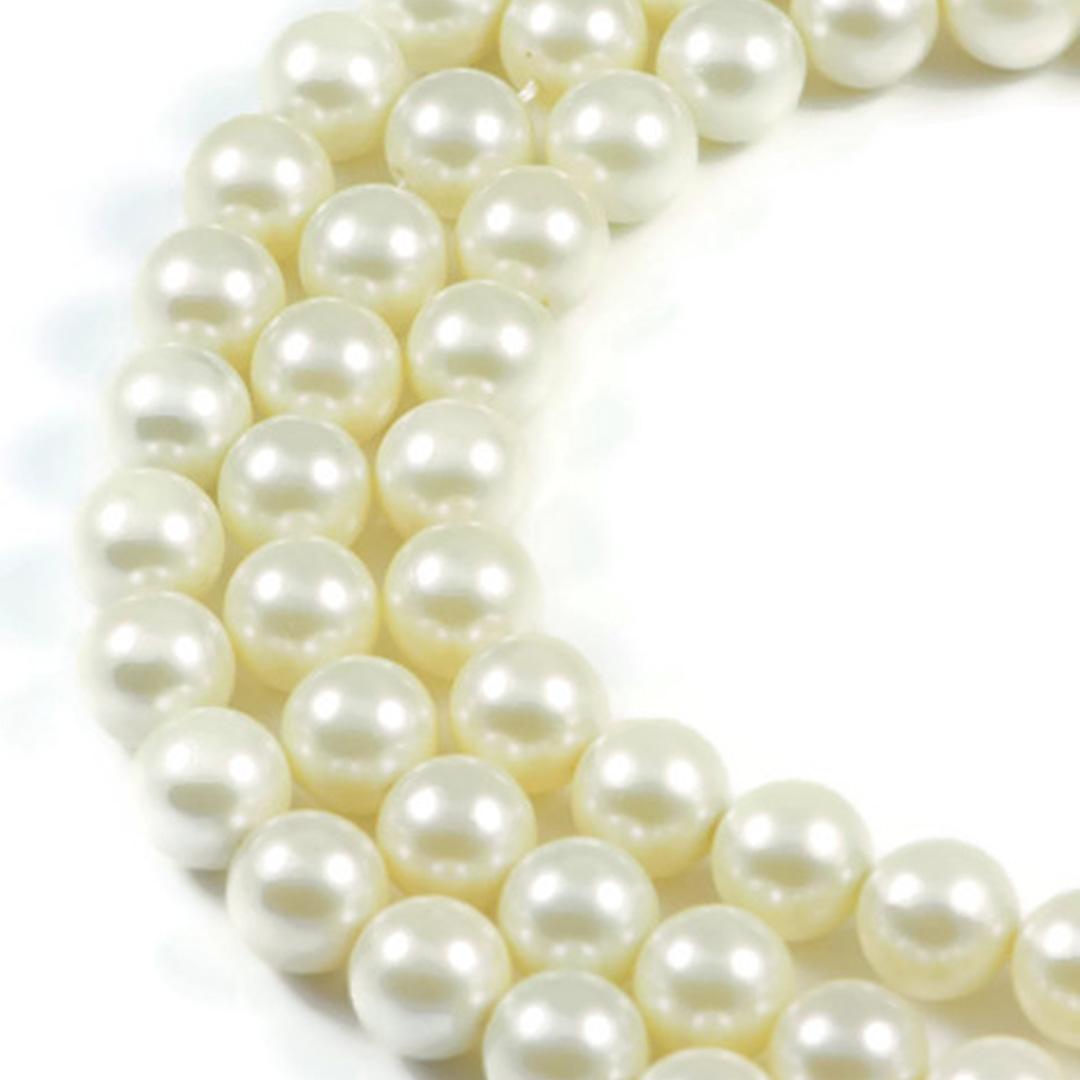 AqBeadsUk Cream Shell Pearl 10mm Round Beads Strand 16 inch Jewellery Making Beads