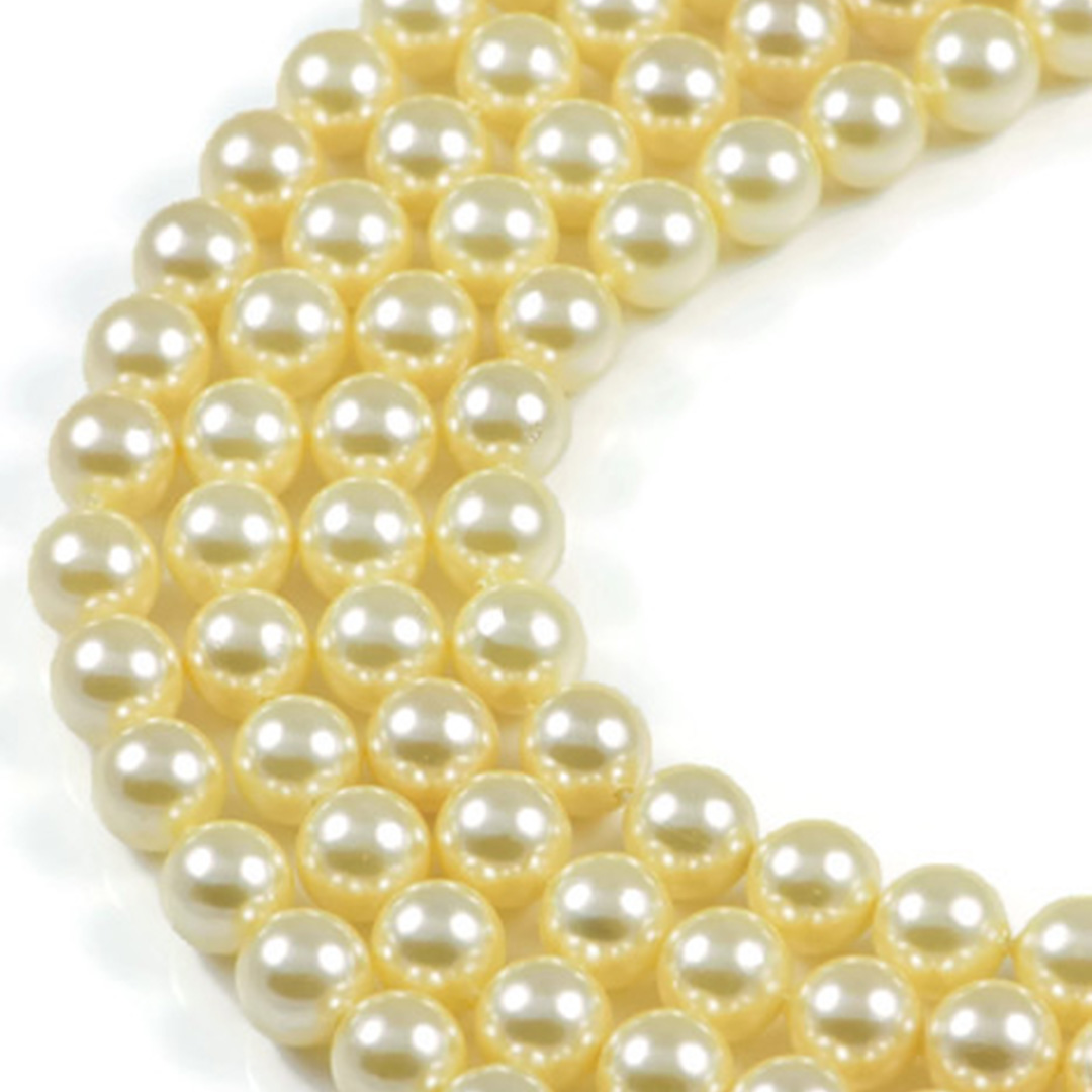 AqBeadsUk Light Yellow Shell Pearl 8mm Round Beads Strand 16 inch Jewellery Making Beads