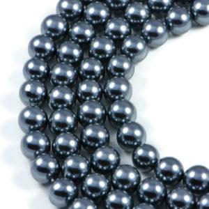 AqBeadsUk Dark Gray Shell Pearl 10mm Round Beads Strand 16 inch Jewellery Making Beads