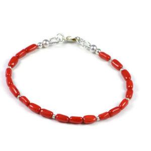 AqBeadsUk Classic Semi-Precious 7x4mm Gemstone Red Coral Tube Beads 7.3 inch Luxury Handmade Women's Bracelet