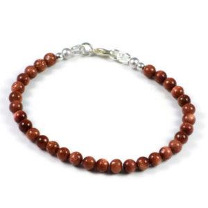 AqBeadsUk Classic Semi-Precious 5mm Gemstone Natural Goldstone Round Beads 7.5 inch Luxury Handmade Women's Bracelet
