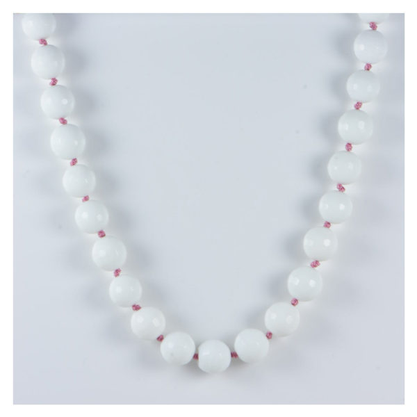 AqBeadsUk Classic Semi-Precious Gemstone 13mm White Onyx Faceted Round Beads 18.3 inch Luxury Hand-Knotted Women's Necklace