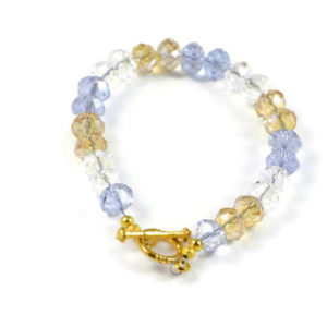 Classic 8x5mm Muliicolour Swarovski Crystal Faceted Rondlle Beads 7.4 inch Luxury Handmade Women's Bracelet