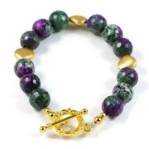 Classic Semi-Precious Gemstone 10mm Ruby Zoisite Faceted Round Beads 7.8 inch Luxury Handmade Women's Bracelet