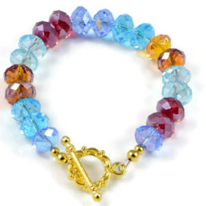 Classic 10x7mm Muliicolour Swarovski Crystal Faceted Rondlle Beads 7.2 inch Luxury Handmade Women's Bracelet