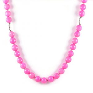 Classic Semi-Precious Gemstone 12mm Natural Pink Agate Faceted Round Beads 19.5 inch Luxury Handmade Women's Necklace
